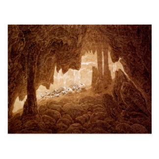 Deux squelettes dans une carte postale de caverne