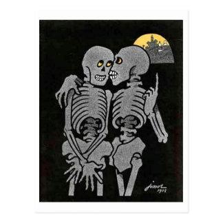Deux squelettes parlant la carte postale