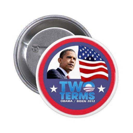 Deux termes -- Obama/Biden 2012 Badges Avec Agrafe