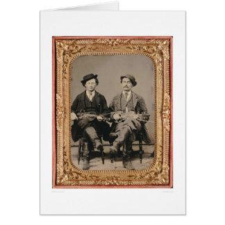 Deux violoneurs, assis avec les instruments carte de vœux