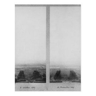 Deux vues de la construction d'Eiffel Carte Postale