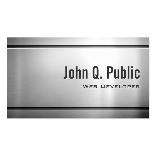 Développeur web - métal frais d'acier inoxydable cartes de visite personnelles