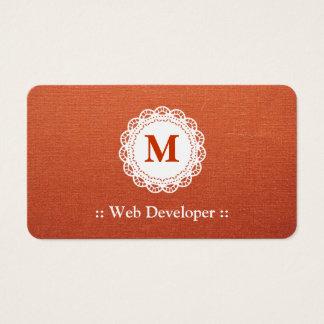 Développeur web - monogramme élégant de dentelle cartes de visite