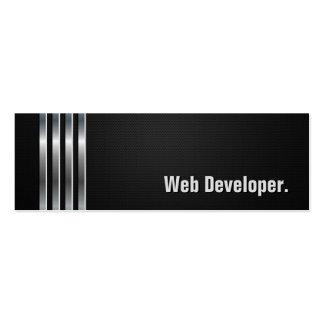 Développeur web - rayures argentées noires carte de visite petit format