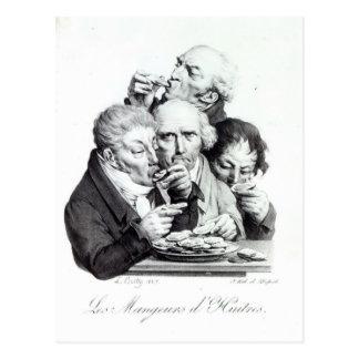 d'Huitres de Les Mangeurs, 1825 Carte Postale