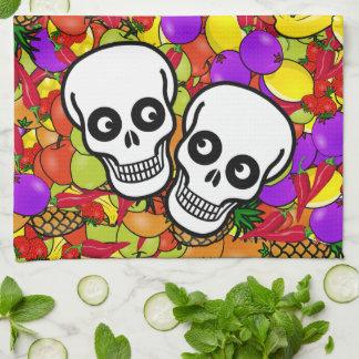 Dia De Los Muertos - couple heureux W/Fruit Serviette Pour Les Mains