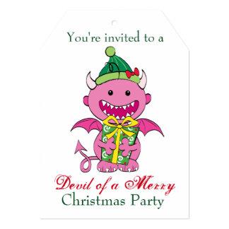Diable de fille avec le présent carton d'invitation  12,7 cm x 17,78 cm