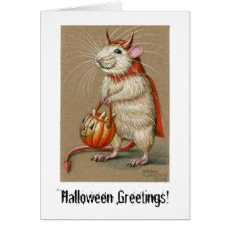 Diable de rat, salutations de Halloween ! Carte