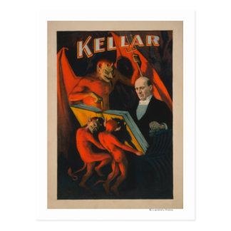 Diable et démons de Kellar avec l'affiche magique Carte Postale