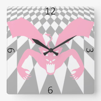 Diable rose horloge carrée