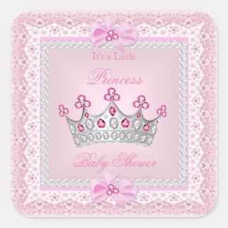 Diadème d'argent de gemme de rose de fille de sticker carré