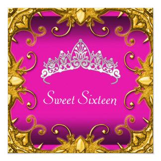 Diadème rose de blanc d'or de fête d'anniversaire carton d'invitation  13,33 cm