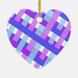 diagonale géométrique de guingan de plaid ornement cœur en céramique