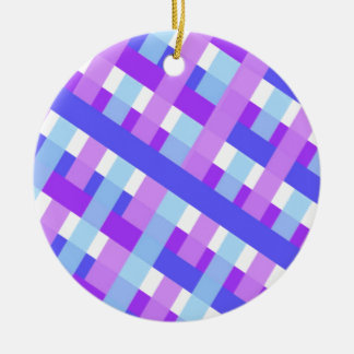 diagonale géométrique de guingan de plaid ornement rond en céramique