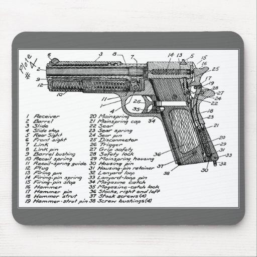 Diagramme d 39 arme feu tapis de souris zazzle for Surface minimum bureau code du travail