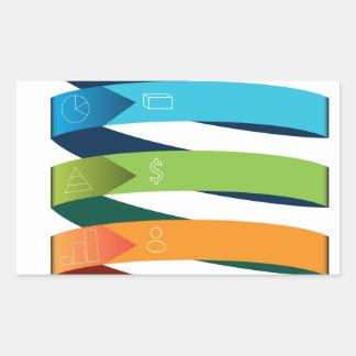 Diagramme de flèche de croissance de l'entreprise sticker rectangulaire