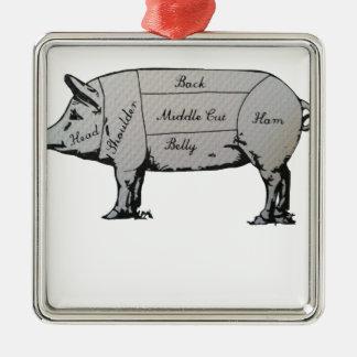 Diagramme de porc ornement carré argenté