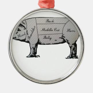 Diagramme de porc ornement rond argenté