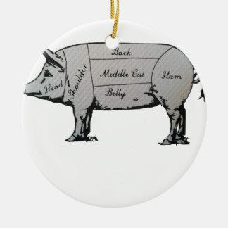 Diagramme de porc ornement rond en céramique