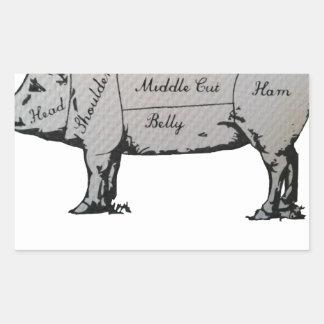 Diagramme de porc sticker rectangulaire