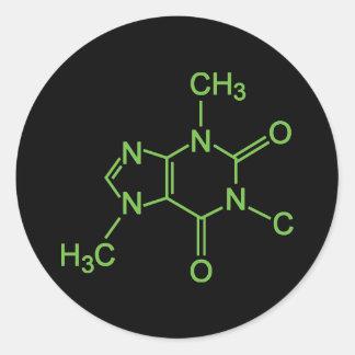 Diagramme de produit chimique de molécule de café sticker rond