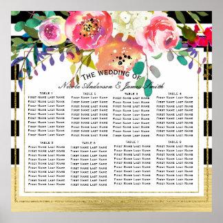Diagramme floral moderne noir de Seat de mariage Poster
