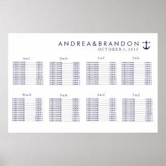 Diagramme nautique d'allocation des places de mari posters