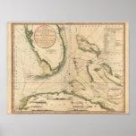 Diagramme nautique du Golfe de la Floride Affiche