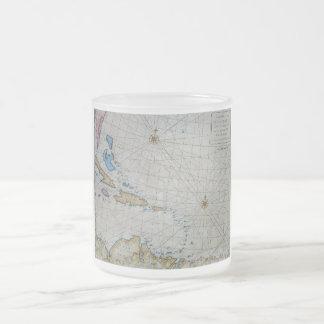 Diagramme nautique vintage des Caraïbe Mug En Verre Givré