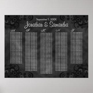 Diagrammes floraux noirs d'allocation des places poster