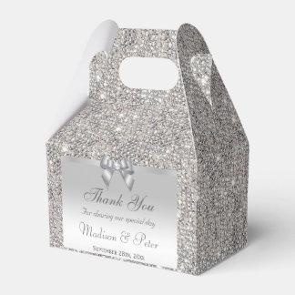 Diamant argenté chic d'arc de paillettes boite de faveur