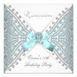 Diamant blanc argenté bleu turquoise de invitations