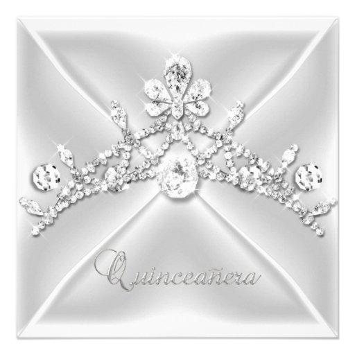 Diamant blanc argenté de diadème de Quinceanera 15 Faire-parts