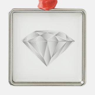 Diamant blanc pour mon chéri ornement carré argenté