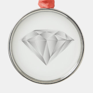 Diamant blanc pour mon chéri ornement rond argenté