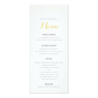 Diamant d'or sur le modèle blanc de menu de carton d'invitation  10,16 cm x 23,49 cm