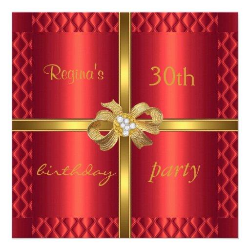 Diamant en soie rouge élégant d'arc d'or d'invitat invitations personnalisées