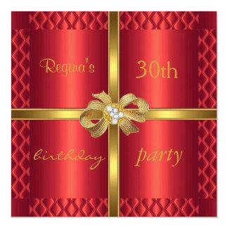 Diamant en soie rouge élégant d'arc d'or invitations personnalisées