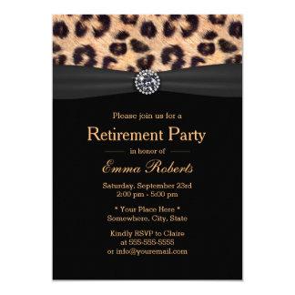 Diamant et empreinte de léopard de luxe de partie carton d'invitation  12,7 cm x 17,78 cm