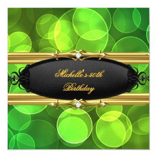 Diamant noir de chaux d'or vert de fête carton d'invitation  13,33 cm
