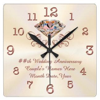 Diamant personnalisé, horloge rose d'anniversaire
