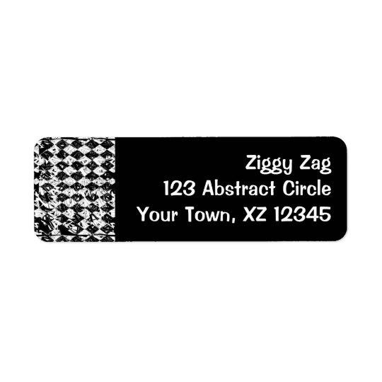 Diamants abstraits noirs et de blanc étiquette d'adresse retour