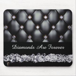 Diamants blancs simili cuir noirs tapis de souris
