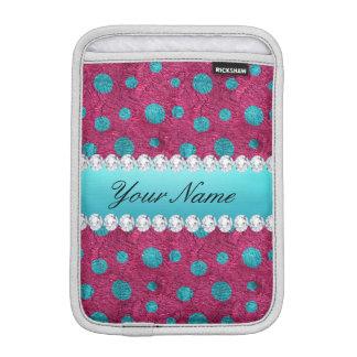 Diamants bleus de Faux de roses indien de pois Housse Pour iPad Mini