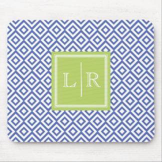 Diamants bleus motif et monogramme tapis de souris