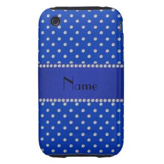 Diamants bleus nommés personnalisés coque tough iPhone 3