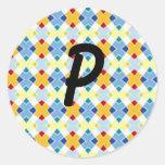 Diamants colorés par P initiaux Sticker Rond