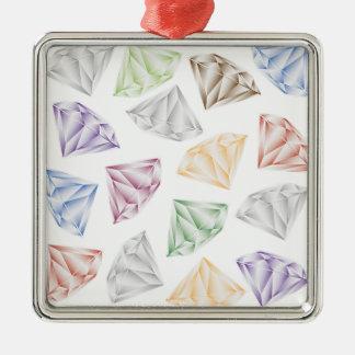 Diamants colorés pour mon chéri ornement carré argenté