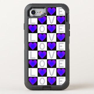 Diamants d'AMOUR, coeurs rougeoyants violets Coque Otterbox Defender Pour iPhone 7