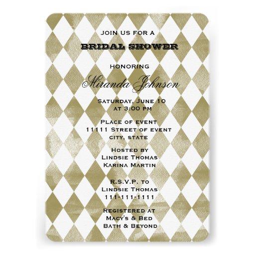 Diamants d'aquarelle d'or cartons d'invitation personnalisés
